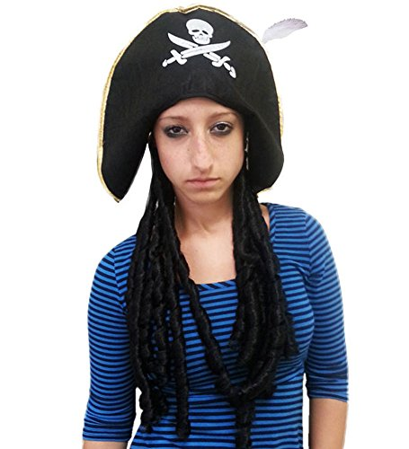 Pirate Hat With Dreadlock Wig And Feather For Costume Accessory (Ahoy Matey Mens Adult Costume)