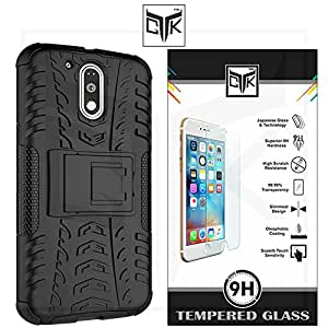 TGK™ Combo for Motorola Moto G PLAY 4th Gen (Combo of 1 Back Cover + 1 Tempered Glass) - TGK™ Tough Hybid Dual Layer ShockProof Armor with Kick Stand Back Case Cover + Premium HD Tempered Glass Screen Protector With Rounded Edges