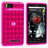 Hot Pink Checker TPU Rubber Skin Case Cover for Motorola Droid X MB810 / Droid X2 MB870