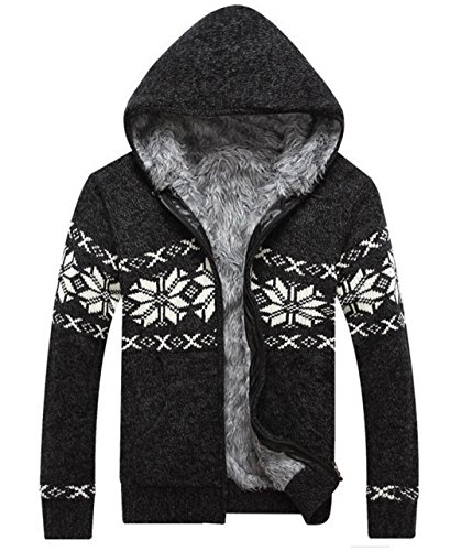 Mooncolour Men'S Cozy Fur-Padded Thick Warm Cardigan Snowflake Outwear