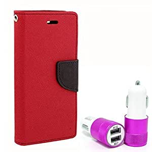 Aart Fancy Diary Card Wallet Flip Case Back Cover For Mircomax Uuphoria - (Red) + Dual ports USB car Charger With Ultra Power Technolgy by Aart Store.