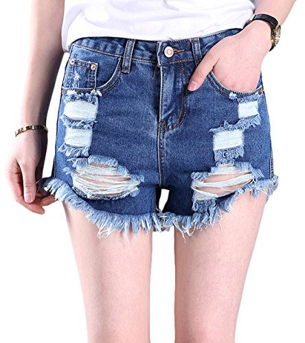 Chouyatou Women's Classic 5 Pockets Relaxed Fit Cut Off Daisy Duke Denim Shorts (Medium, Blue) Rugged Cut Off Short