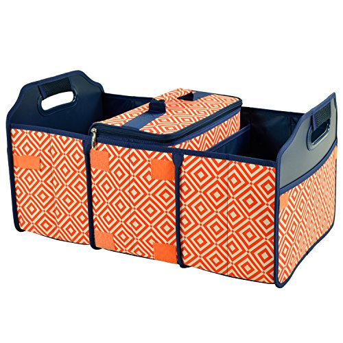 Original Folding Trunk Organizer with Cooler by Picnic at Ascot - Orange/Navy (All In One Picnic Cooler compare prices)