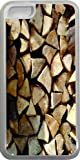 Rikki KnightTM Pile of Wood Logs Design iPhone 5c Case Cover (Clear Rubber with bumper protection) for Apple iPhone 5c