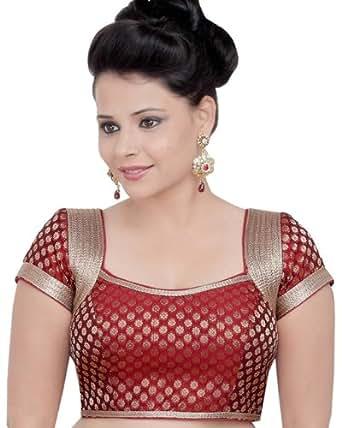 Brocade Ready-made Indian Sari Saree Blouse Choli- X-81 SL: Clothing