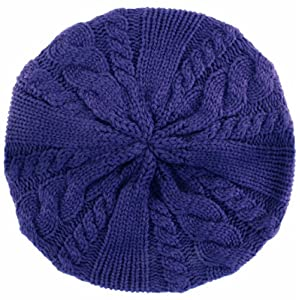 EH643RB - Cable Knitted Light Slouch Fashion Beanie /Beret /Winter Hat ( 8 Colors ) - Purple/One Size