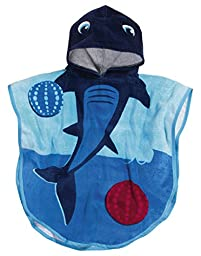 Playshoes Children\'s Hooded Bath/Beach Dressing Poncho Terry Towel (Large, Shark)