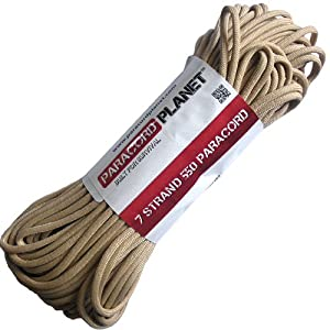 Paracord Planet Mil-Spec Commercial Grade 550lb Type III Nylon Paracord 25 feet Tan