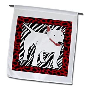 Florene Décor II - Bull Terrier On Zebra - 12 x 18 inch Garden Flag (fl_46603_1)