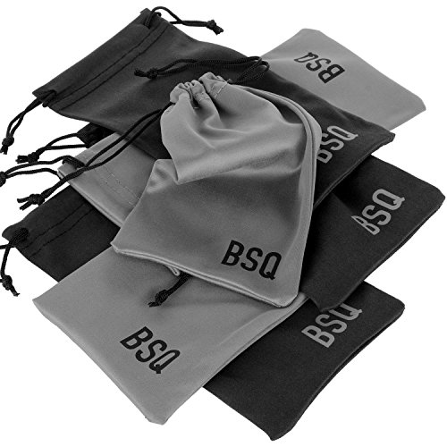 Microfiber Pouch 4 x 7.75 Inch (6 Pack) - Soft Cloth Storage Bag(s) for Eyeglasses, Sunglasses, Oakley Glasses, Jewelry, Electronic Gadgets, Mobile Cell Phone (iPhone, Samsung) - Black & Dark Grey (Cloth Pouch compare prices)