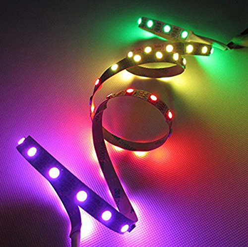 Siga® 1M Dc5V Addressable 24-Bit Rgb Led Strip,Programmable Ws2812B (Ws2811), 4-Pin Jst-Sm Connectors Pre-Soldered To Both Ends,Black Pcb (No Waterproof, 60Led/M)
