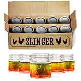 The Rooster Mason Jar Shot Glasses Set - Mini Mason Jars with Lids featuring Unique Rooster Design (10 Pack)