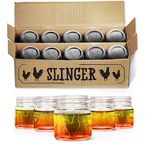 The Slinger Mini Mason Jar with Lid, Rooster Design, Pack of 10 (Spice Mason Jars compare prices)