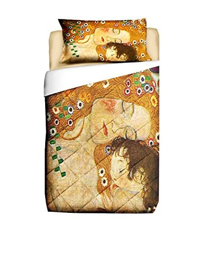 Tele d'autore by MANIFATTURE COTONIERE Edredón Klimt La Madre Oro/Multicolor