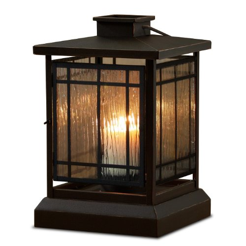 15″ Black Mission-Style Candle Lantern with Textured Glass