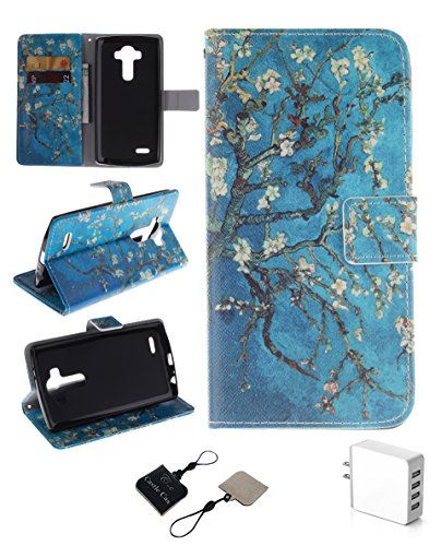 Click to buy LG G3 Wallet Case , Castle Cas [Almond Blossom Flower] Duplex Design Flip Card Slot Slim Fit Magnetic Premium Polyurethane Leather TPU Cover With 4 - Ports Rapid USB US Charger - Blue - From only $56