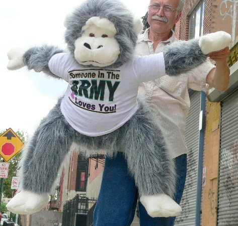 """U.S. MILITARY LOVE! 3-FEET-TALL GIANT BIG PLUSH STUFFED MONKEY APE GORILLA - WEARING T-SHIRT IMPRINTED WITH THE WORDS: """" SOMEBODY IN THE ARMY LOVES YOU """" - AMERICAN MADE IN THE USA AMERICA - COLOR: FURRY GRAY"""