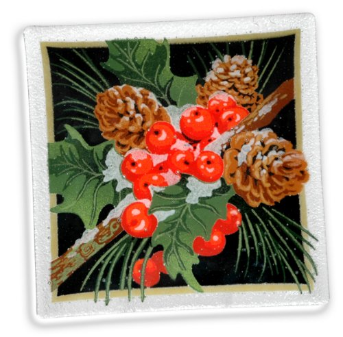 Peggy Karr Handcrafted Art Glass Pine Cones And Holly Plate, Square, 10-Inch