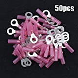 Hilitchi 50Pcs Nylon Heat Shrink Ring Insulated Terminal Electrical Wire Crimp Connector (22-16AWG, 1/4'')