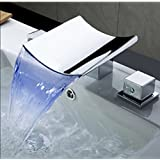 Rozin Chrome Brass LED Waterfall Bathroom Tub Filler Faucet