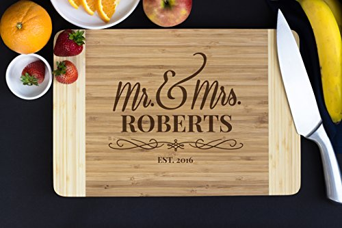 Personalized Bamboo Cutting Board- Flourish Script, 15