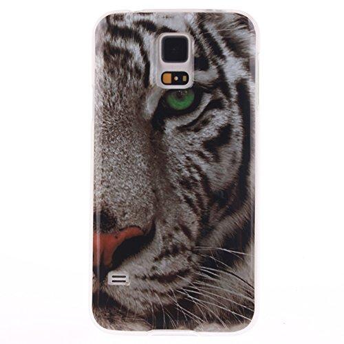 Ecoway Schutzhülle / Cover / Case Bunte Muster Weich TPU Handy Hülle für Samsung Galaxy S5/S5 - White Tiger