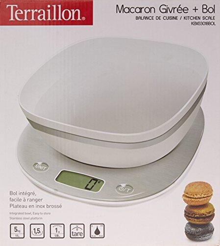 Terraillon KEM33018BOL/12624 Balance de Cuisine Macaron Givrée avec Bol Blanc