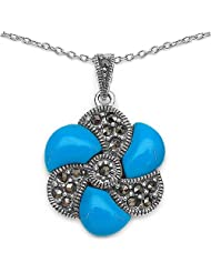 6.10 Grams Turquoise Color Onyx & Marcasite .925 Sterling Silver Flower Shape Pendant