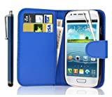 New Leather Wallet Flip Case Cover Pouch for Samsung Galaxy S4 Mini GT-i9190 GT-i9192 GT-i9195 Mini WITH FREE SCREEN GUARD + STYLUS PEN (Blue)
