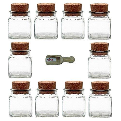 Viva-Haushaltswaren - 10 vasetti porta spezie da 120 ml, con tappo in sughero e paletta in legno da 7,5 cm