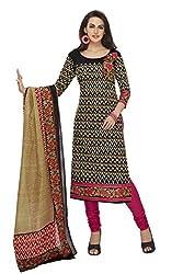 RK Fashion Womens Cotton Un-Stitched Salwar Suit Dupatta Material ( SANDHYA-PAYAL-2007-Black-Free Size )