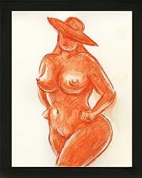 Art Bordeaux Boudoir BBW Voluptuous Curvy Woman Nude Female Watercolor Painting with black wood frame