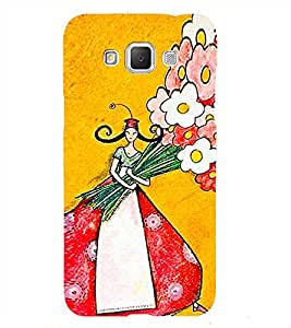 Girl with flower bouquet 3D Hard Polycarbonate Designer Back Case Cover for Samsung Galaxy Grand 3