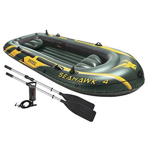 Intex Seahawk 4, 4-Person Inflatable Boat Set with Aluminum Oars and High Output Air Pump (Latest Model) (Motor Inflatable Boat compare prices)