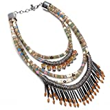 New Fashion Multi Color Ribbon Chain Acrylic Layers Statment Tassel Pendant Choker Charm Necklace For Women colorful fresh