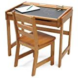 Lipper International Childs Chalkboard Desk and Chair Set, Pecan