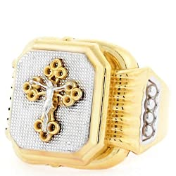 10k Two Tone Gold Religious Filigree Crucifix Mens Ring