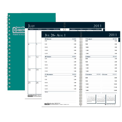 House of Doolittle Academic Weekly/Monthly Pocket Planner, 12 Months July 2011 to June 2012, 3.25 x 6.25 Inch, Monthly Indicators, Bright Green Recycled (HOD25509)