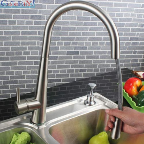 Delilah Brushed Steel Kitchen Sink Mixer Tap with Pull