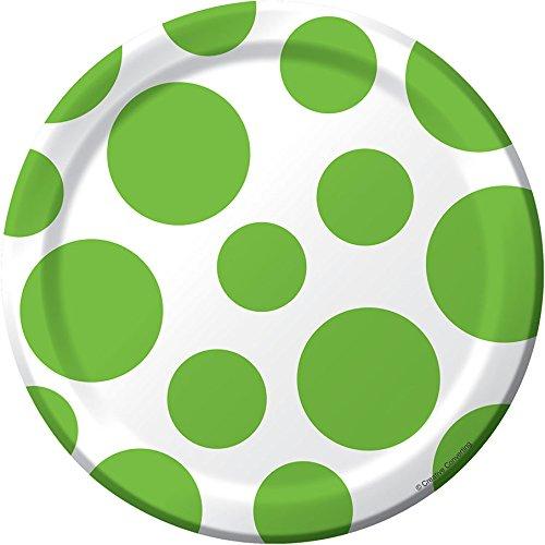 1 X Lime Green Polka Dots Dessert Plates