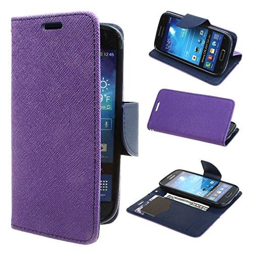 ivencase 保護 スタンド ケース case カバー かわいい フリップ 手帳型 手帳 PUレザー 横開き Samsung i9190 / i9192 Galaxy S4 mini パープル