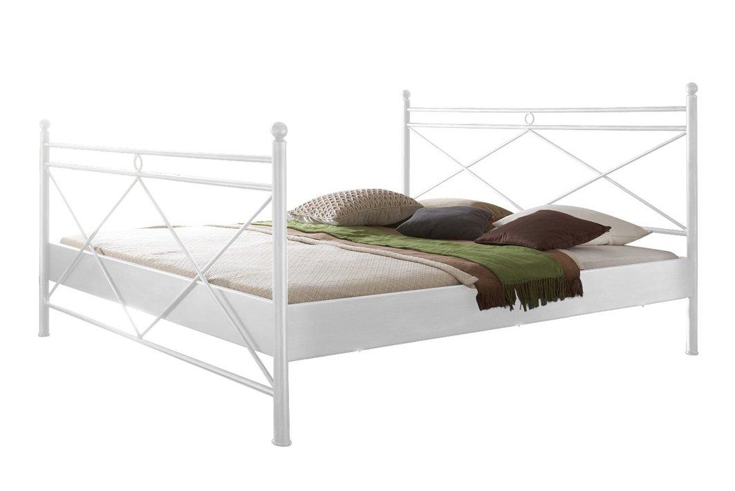 Metallbett Imola Bett in weiß 180 x 200 cm mit Verzierungen an Kopfteil und Fußteil