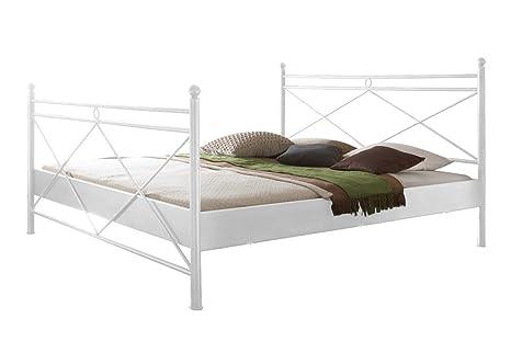 Metallbett Imola Bett in weiß 200 x 200 cm mit Verzierungen an Kopfteil und Fußteil