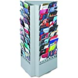 Safco Products 4326GR Steel Rotary Brochure Rack Converts from 66 to 33 Pocket, Gray