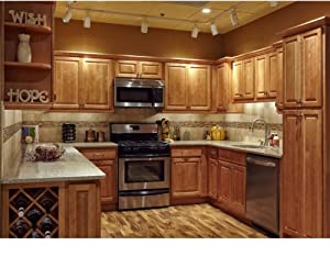 Amazon.com - All Wood 10x10 Kitchen Cabinets Maple Honey Natural