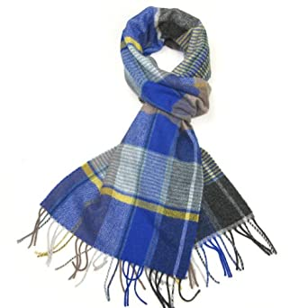Mens Wool Scarf - Blue, Grey & Yellow Winter Scarves for Men - Striped and Checked Men's Lambswool Scarf - Lovarzi - Made in Scotland