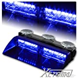 Xtreme® Blue 16 LED High Intensity LED Law Enforcement Emergency Hazard Warning Strobe Lights For Interior Roof / Dash / Windshield With Suction Cups