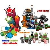 Exclusive Lego Minecraft [Exclusive Bundle] The Cave 21113 Playset W/ Exclusive Minecraft Papercraft Animal Mobs
