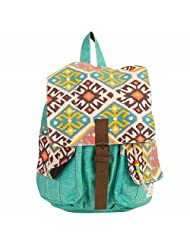 The House Of Tara Canvas Herringbone And Ikkat Print Backpack (Multicolour)