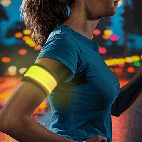 Higo Led Sports Wristbands, Safety Lights for Running, Glow in the Dark Led Slap Bracelets for Cycling, Jogging, Dog Walking (Yellow) (Armband Light For Running compare prices)